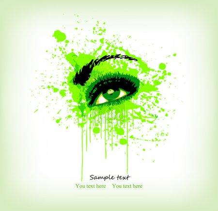 Illustration pour Vert grunge abstraction maquillage des yeux. Illustration vectorielle - image libre de droit