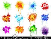 Grungy design colorful elements Vector set (4)