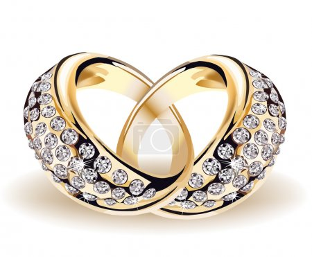 Gold vector wedding rings and diamonds