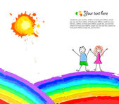 Colorful background with happy child on rainbow Vector illustration