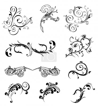 Illustration for Set different ornamental and floral elements. Vector illustration - Royalty Free Image