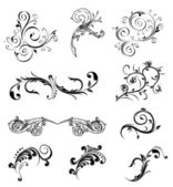 Set different ornamental and floral elements Vector illustration