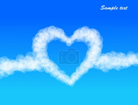 Clouds heart on sky background. Vector