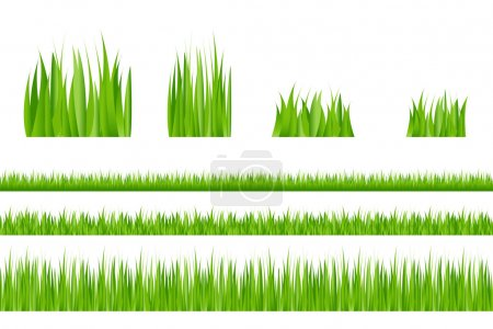 Illustration for 3 backgrounds of green grass and 4 tufts of grass - Royalty Free Image