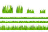 3 backgrounds of green grass and 4 tufts of grass