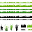 Set Of Grass, Green and Outline, Isolated On White...