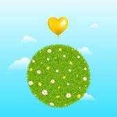 Grass Ball With Yellow Balloon