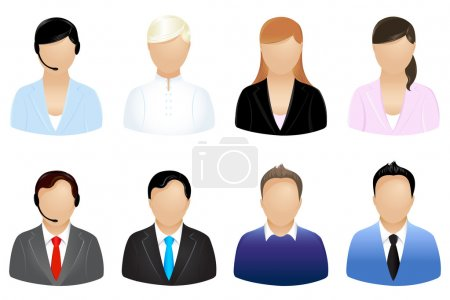 Illustration for Set Of Business Icons, Isolated On White - Royalty Free Image