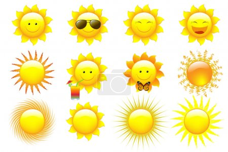 Illustration for Vector Set Cartoon Sun Characters, isolated On White - Royalty Free Image