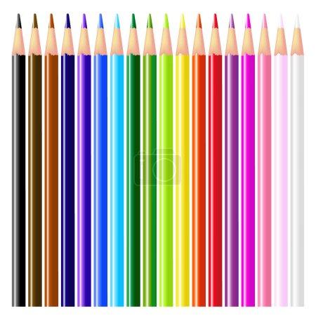Illustration pour 18 crayons de couleur - Isolé sur fond blanc - image libre de droit