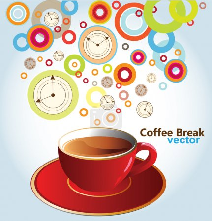 Photo for Red coffee cup clock hands balls - Royalty Free Image