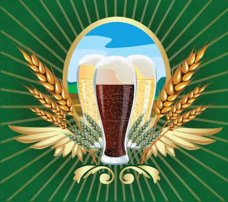 Photo for Glasses of dark and light beer labels ears of barley landscape - Royalty Free Image