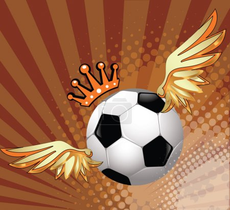 Photo for Flying soccer ball with wings and a crown symbol of victory - Royalty Free Image