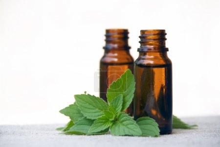 Photo pour Huile aromatique aromathérapie en bouteilles de verre à la menthe - image libre de droit