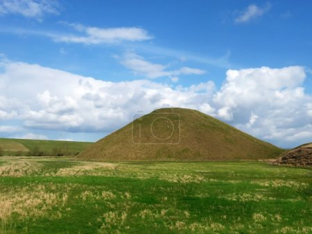 Photo for View of Silbury Hill an ancient artificial chalk mound. - Royalty Free Image