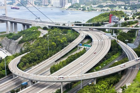 Aerial view of complex highway interchange in HongKong