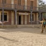 Cowboy gunfight ouside sheriffs office...