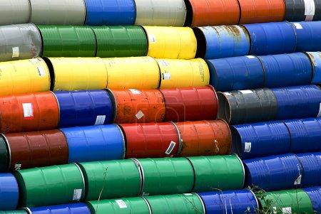 Stacked oil barrels