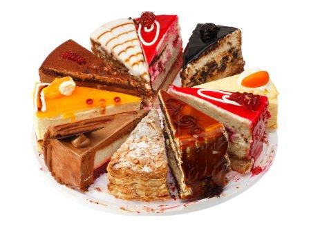 Photo pour Portion gâteau performance différente. Fond blanc . - image libre de droit