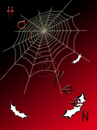 Picture on Halloween. Spider web on color background