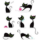 Black cats in various poses Vector cartoon illustration