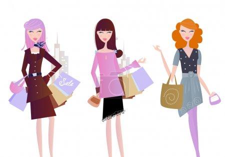 Illustration pour Femmes sexy sur shopping dans la ville. illustration de vecteur isolé sur fond blanc. - image libre de droit