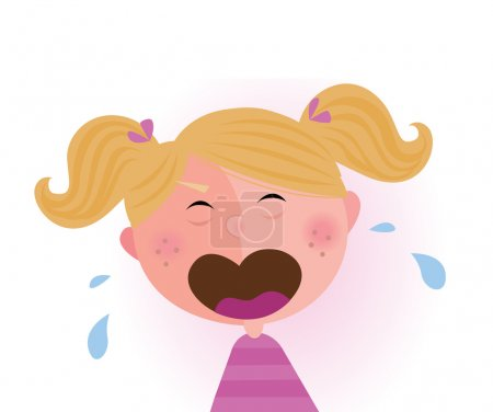 Illustration for Crying small child. Vector cartoon illustration of cute crying baby girl. - Royalty Free Image