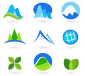 Nature mountain and turism icons - blue