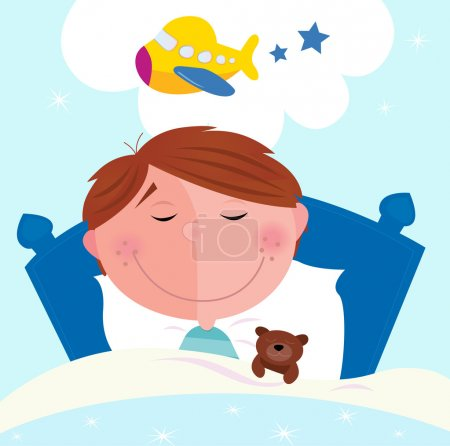 Illustration for Cute small boy sleeping in bed with teddy bear and dreaming about new toy. Vector cartoon illustration. - Royalty Free Image