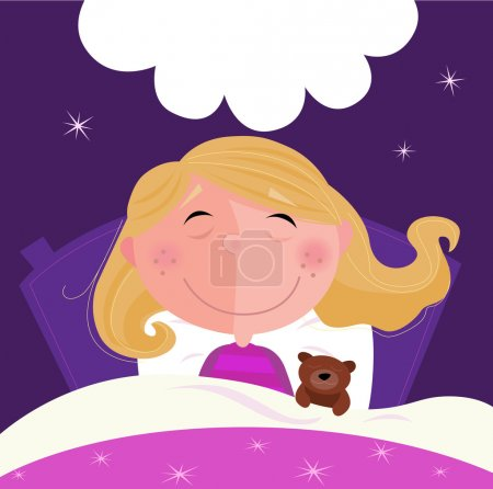 Illustration for Cute girl sleeping with her teddy during dark blue night. Stars in background behind bed. Vector Illustration. - Royalty Free Image