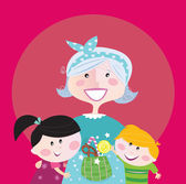 Super grandma with children - granddaughter and grandson Boy and girl hug their granny Boy is taking sweet candy Stylized vector cartoon illustration