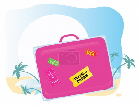 Illustration for Going to exotic vacation! Vector suitcase you should easy to change color and size. - Royalty Free Image