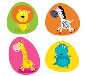 Cute safari animals set - lion zebra giraffe and hippo