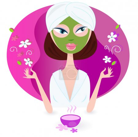 Illustration for Young woman is practicing aromatherapy with nature flowers. Vector illustration of beauty girl isolated on pink background. - Royalty Free Image