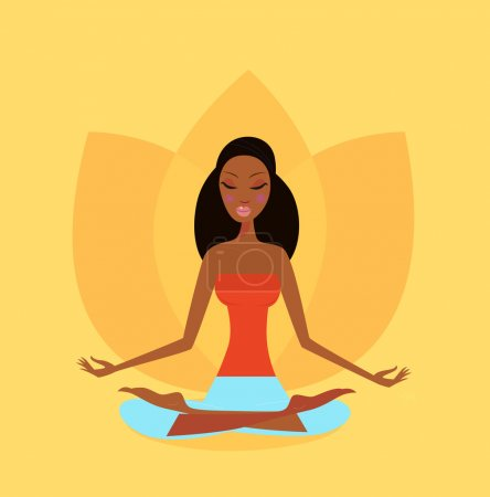 Illustration for A girl meditating in lotus yoga position. Serene woman in harmony with nature. - Royalty Free Image