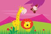 Funny jungle africa animals: Giraffe Lion and Monkey