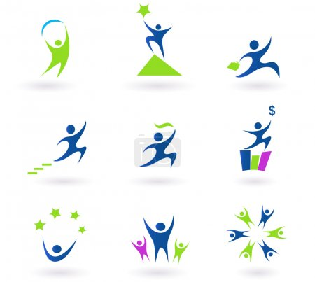 Collection of human business, success and money icons - blue