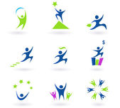 Collection of human business success and money icons - blue