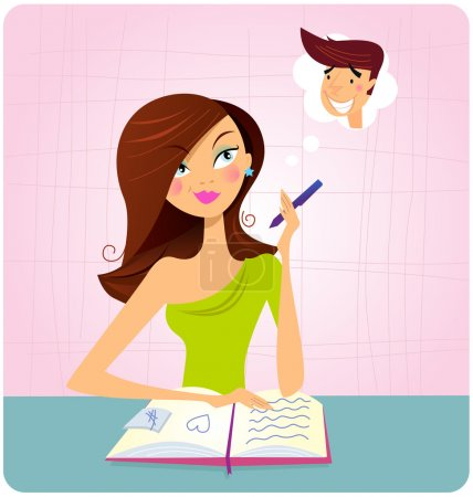 Young student girl is daydreaming while studying