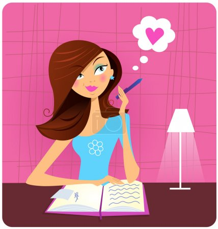 Illustration for Cute girl thinking about what she's going to write in her diary or journal. Vector Illustration. - Royalty Free Image