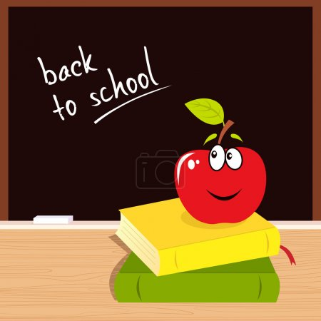 """Illustration for Vector Illustration of red apple, books and black board with """"Back to school"""" sign. - Royalty Free Image"""