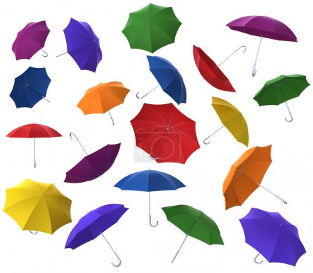 Colorful flying umbrellas