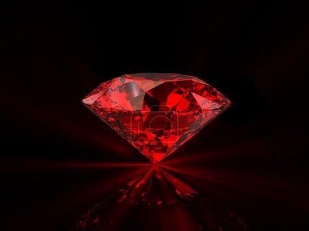 Red diamond on black background