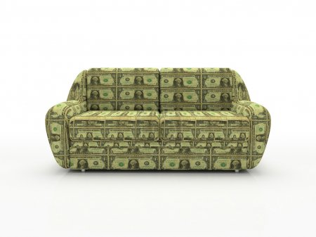 Sofa with dollars
