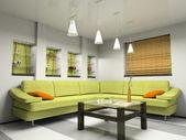 Interior with green sofa