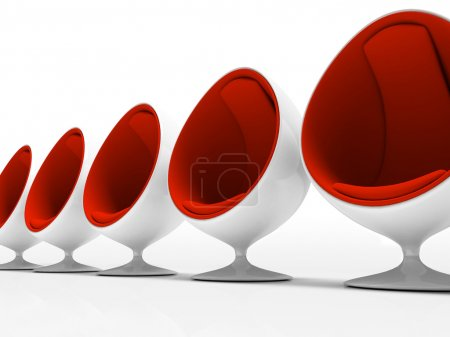 Five red chairs isolated