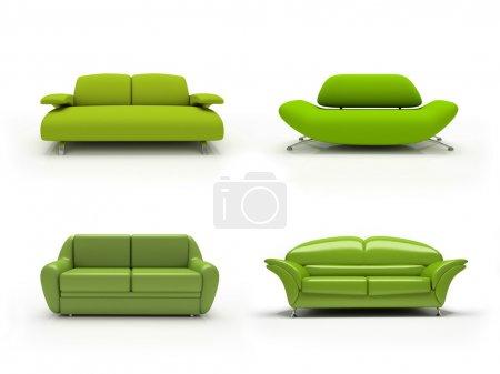 Green four modern sofas