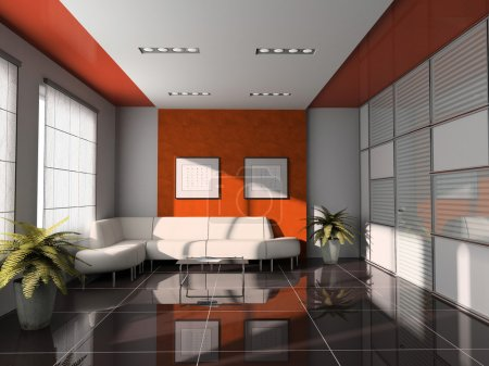 Office interior with orange ceiling