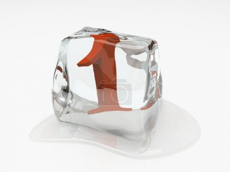 Numeral one in ice cube 3D rendering