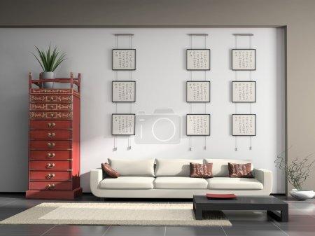 Photo pour Intérieur de la maison avec des meubles chinois rendu 3D - image libre de droit